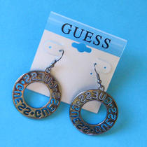 Guess Vintage Style Black Round Earrings New on Card Photo