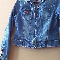 Guess Vintage Style Denim  Jean Jacket  Size Xl Zipper Front With Zipper Detail  Photo