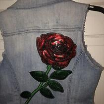 Guess Vintage Womens Size Small Denim Jean Vest Button Front Slim Rose Sequins Photo