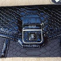 Guess Wallet New / Nwt Faux Leather Vegan Black/gray Nwt So Cute Msrp 45 Photo