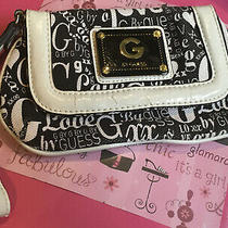 Guess Wallet Wristlet Clutch Bag Coin Purse Black and White Cloth Material Photo