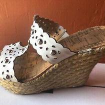Guess Wedge Espadrille Shoe Heel White Silver Size 7 Photo