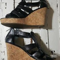 Guess Wedge Sandals 10 M Strappy Black Cork Photo