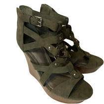 Guess Wedge Sandals Olive Green Suede Size 7.5 Photo