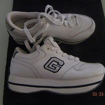 Guess Wedge Sneakers White Leather Sparkly