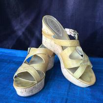 Guess Wgbarkley Mustard Wedge Cork Slide Sandals Size 9.5 Photo