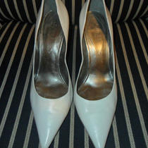 Guess White 7.5 Leather Heel Pump Shoes Photo