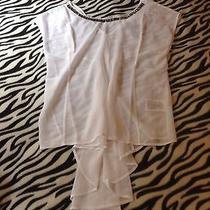 Guess White Blouse Size Large With Embroidered Necklace Photo