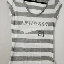 Guess White / Grey Short Sleeve Top Blouse Shirt Sz Xlarge Photo