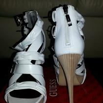 Guess White Leather Strappy Sandalsfree Gift  Photo