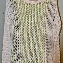 Guess White Open Knit All Season Sweater Rayon Medium Casual  Photo