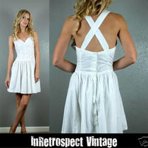 Guess White Pinup Cotton Criss Cross  Halter Summer Mini Dress L Photo