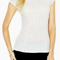 Guess White Ribbed Semi-Sheer Bodycon Top Cap Sleeve S Photo