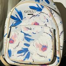 Guess White Roses W Blue/ Pink Tan Trim and Straps Backpack New Without Tags Photo