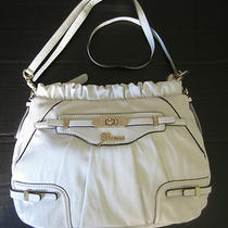 Guess White W/ Gold Zani Faux Leather Handbag Crossbody Purse New Photo
