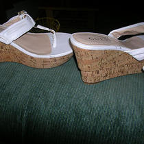 Guess White Wedge Sandals 7  Photo