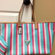 Guess Wink Aqua Pink Stripe Beach Boat Summer Tote Bag Purse Nwt Free Ship Photo