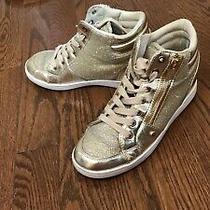 Guess Woman Leather Gold Metallic Rhinestone Hi-Top Sneaker 6.5 Photo