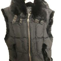 Guess Woman's Puffer Vest With Faux Fur Collar Black Photo