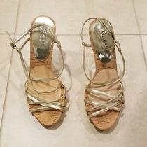 Guess Woman's Shoes - Size 6 1/2 M - Used - Straps - Metallic - Heels Photo