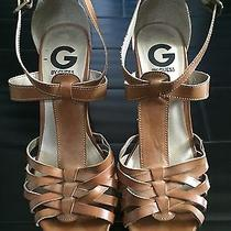 Guess Woman's Size 7 Brown Wedge Cork Wedges Heels Photo
