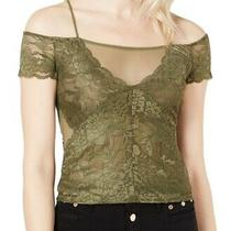 Guess Women Blouse Olive Green Size Xs Mesh Contrast Cold Shoulder Lace 59 077 Photo