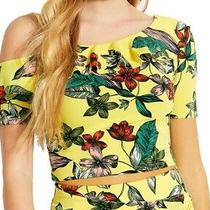Guess Women Crop Blouse Yellow Size Xs Floral-Print Ruffle Cold-Shoulder 39 227 Photo
