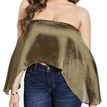Guess Women Crop Top Olive Green Size Medium M Satin Strapless Zip Back 44 269 Photo