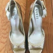 Guess Women Gold Peep Toe Stiletto Heels Pumps Size 7.5 M Photo
