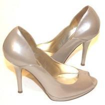 Guess Women Heel Pearl Gold Patent Leather Open Toe Platform Shoe Women 5m Photo