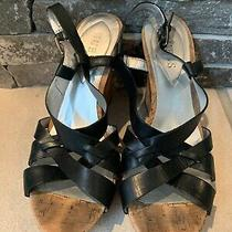 Guess Women's Beige/black Strappy Alana Wedge Sandals Sz Us 6 Photo