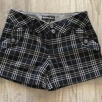 Guess Women's Black Plaid Cuff Shorts Size 27 With Stretch Wear With Tights Photo