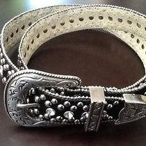 Guess Women's Black  Suede With Studs Rhinestones Bling Equestrain Jumper Belt S Photo