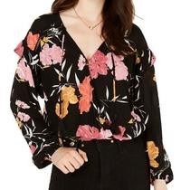 Guess Women's Blouse Black Size Small S Surplice Floral Print Tassles 79 311 Photo