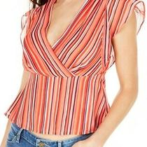 Guess Women's Blouse Classic Orange Size Small S Stripe Off Shoulder 69 140 Photo