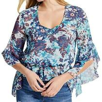 Guess Women's Blouse Deep Blue Size Xl Ruffle Trim v-Neck Floral Print 79 188 Photo