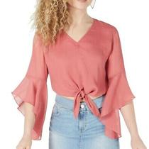 Guess Women's Blouse Pink Size Large L Tie Front Bell Sleeve v Neck 69 130 Photo
