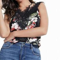 Guess Women's Blouse True Black Size Medium M Floral Print Lace Trim 69 423 Photo