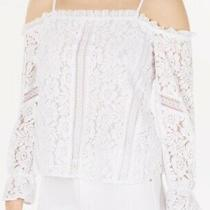 Guess Women's Blouse White Size Small S Cold Shoulder Lace Bell Sleeve 79 002 Photo