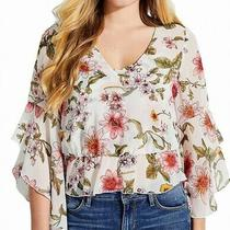 Guess Women's Blouse White Size Small S Floral Print Ruffle Sleeve 79- 130 Photo