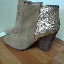 Guess Women's Boots Suede Glitter Beige Ankle Size 10m Photo