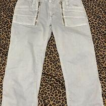 Guess Women's Crop Capri Stretch Jeans Zippered Front Back Legs Size 30 Photo