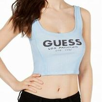 Guess Women's Crop Tank Top Blue Size Small S Ribbed Logo Graphic 29 520 Photo