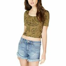 Guess Women's Crop Top Green Size Medium M Floral Caged-Back Knit 39 638 Photo