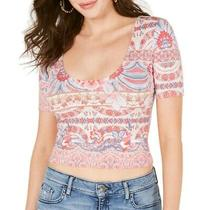 Guess Women's Crop Top Red Size Small S Scoop Neck Knit Printed Stretch 39 674 Photo