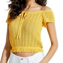 Guess Women's Crop Top Yellow Size Xs Pointelle Knit Off Shoulder 59 017 Photo