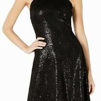 Guess Women's Dress Black Size 2 a-Line Halter Sequin Geo Print 128 284 Photo