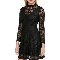 Guess Women's Dress Black Size 2 Sheath Velvet Burnout Sparkle 128 118 Photo