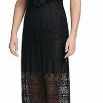 Guess Women's Dress Black Size 6 Maxi v-Neck Lace Popover Eyelash Hem 128 070 Photo