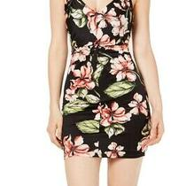Guess Women's Dress Black Size Small S Floral Print Knot Front Sheath 89 446 Photo